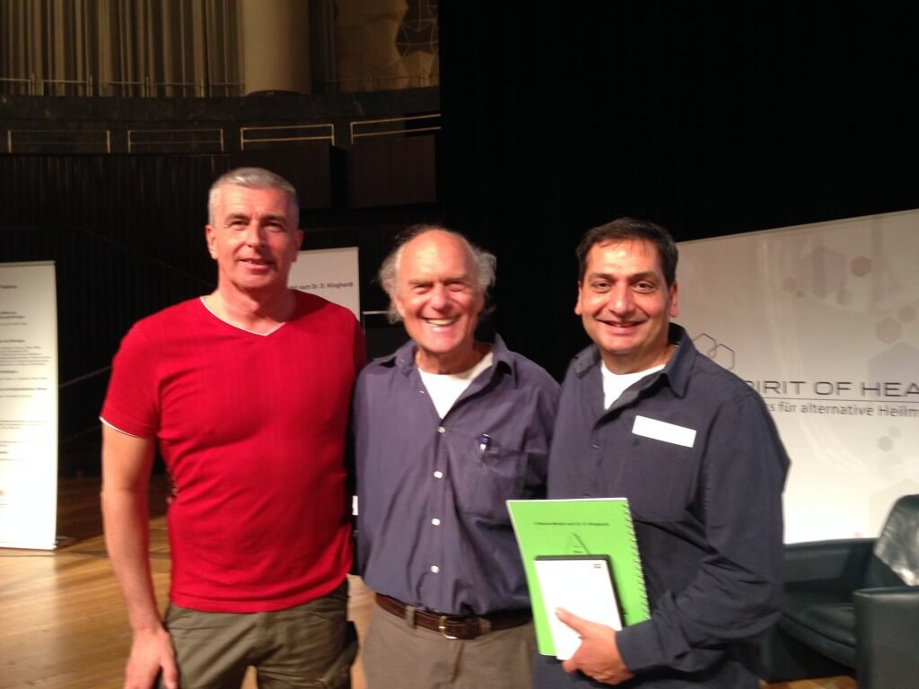 Joe Conrad (bewusst.tv), Dr. Dietrich Klinghardt and Ali Erhan at the Spirit of Health 2014 MMS Workshop Special in Hanover