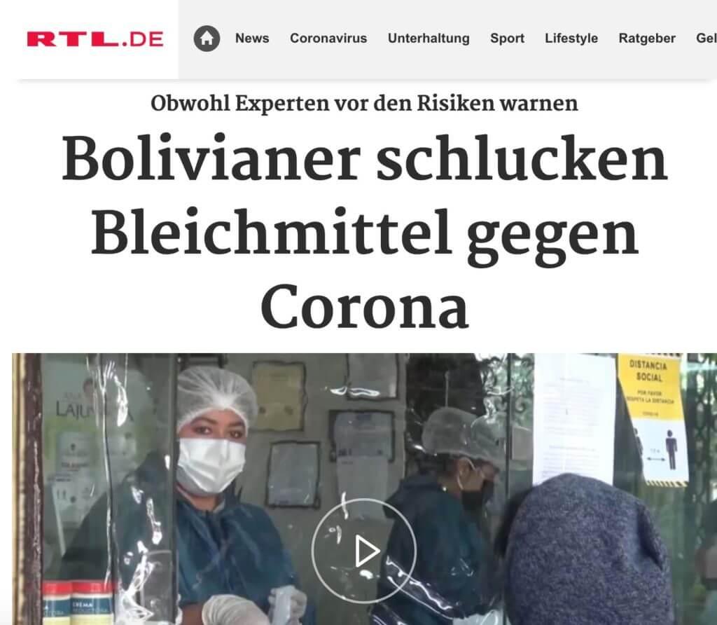 Bolivianen slikken chloordioxide tegen Corona in.